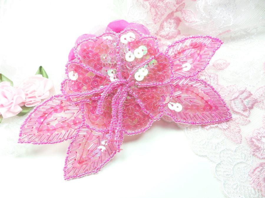 Floral Beaded Sequin Applique Dangles Center Fuchsia Ab 5.5 GB819