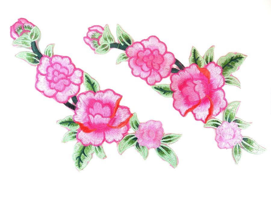 Pink Floral Appliques Mirror Pair Embroidered Clothing Patch 10.5 GB821X