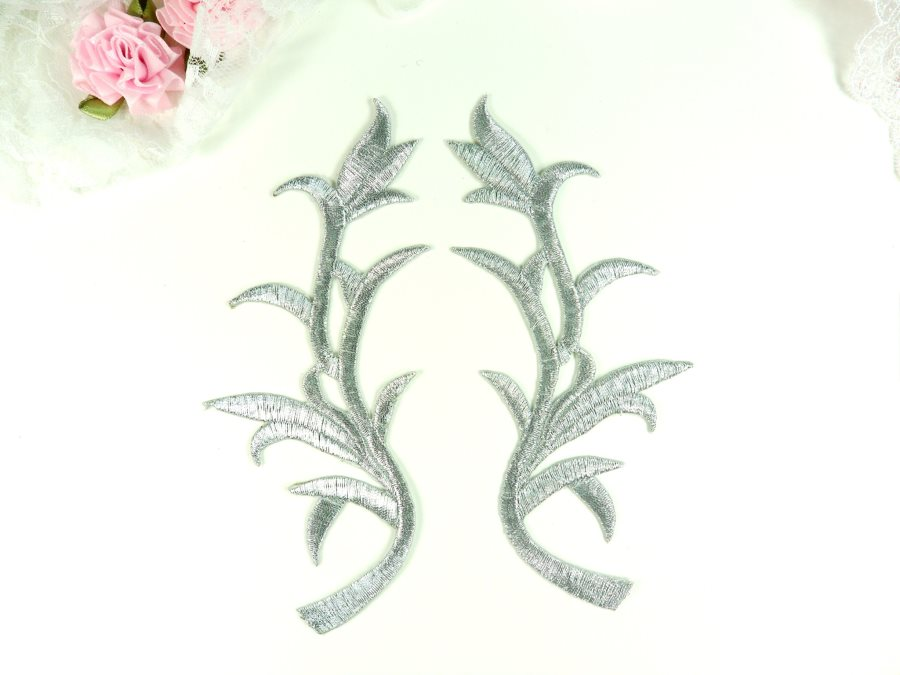 Appliques Silver Metallic Mirror Pair Embroidered Venice Lace 6 GB823X