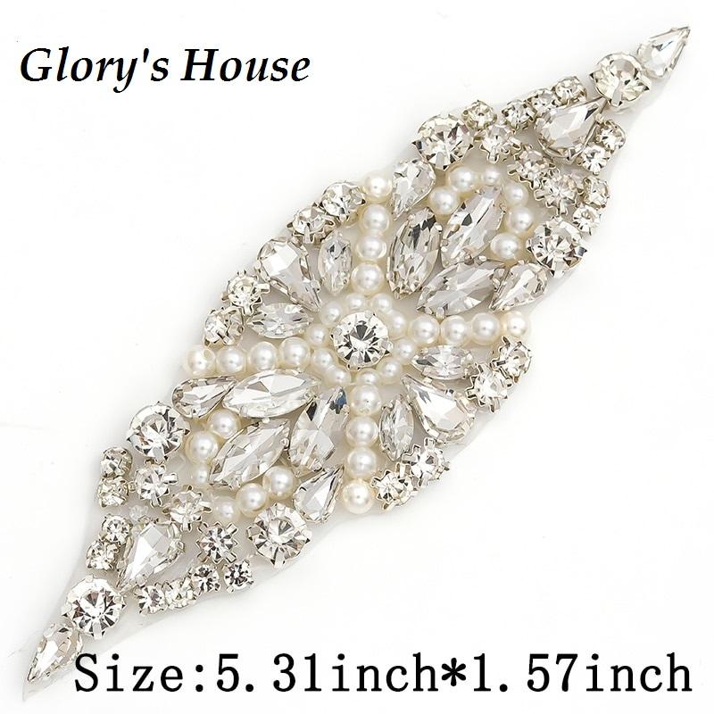 Applique w/ Crystal Glass Rhinestones Silver Settings w/ Pearls Wedding Gown Belt Design 5.5 GB828