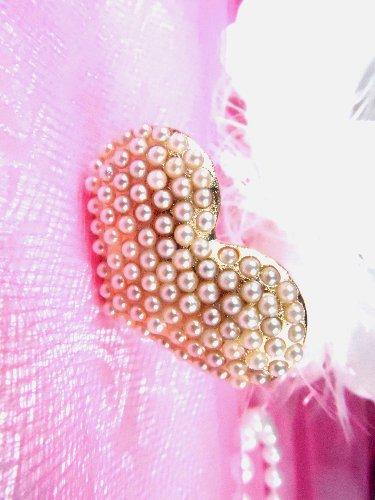 GB83 Gold Pearl Heart Bridal Pin Hair Bow 1.25\