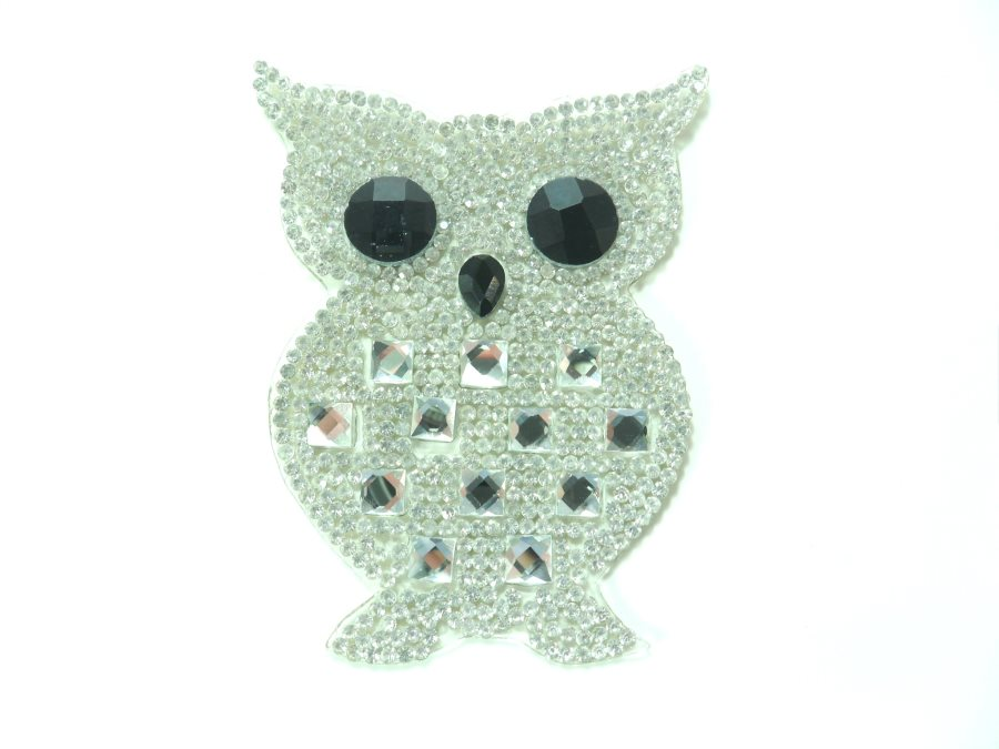 Crystal Rhinestone Owl Applique 3 GB830