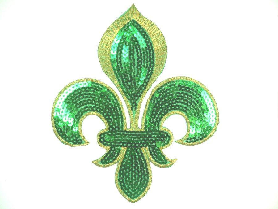 Green Gold Fleur De Lis Sequin Embroidered Applique 6.5 GB831