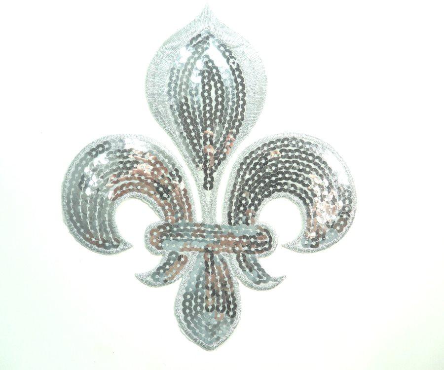 Silver Fleur De Lis Sequin Embroidered Applique 6.5 GB831