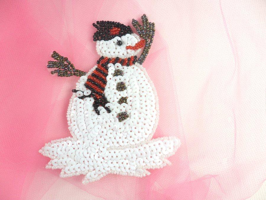 Snowman Sequin Beaded Applique 4.75 GB832