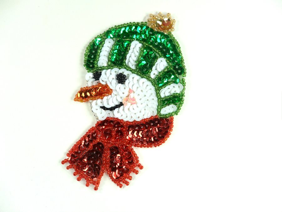 Snowman Head Sequin Beaded Applique 4.5 GB833