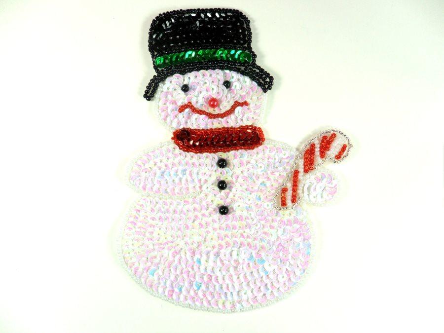 Snowman Sequin Beaded Applique 6 GB834