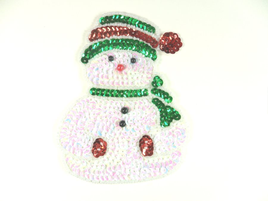 Snowman Sequin Beaded Applique 4.5 GB835