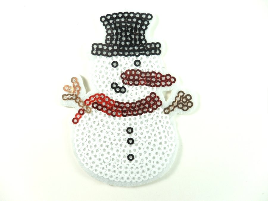 Snowman Sequin Iron on Applique 2.75 GB836