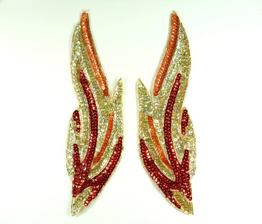Flames of Fire Holographic Mirror Pair Sequin Beaded Appliques 9 GB845X