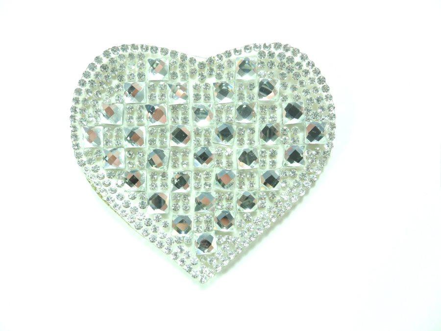 Crystal Rhinestone Heart Applique 2.5 GB858