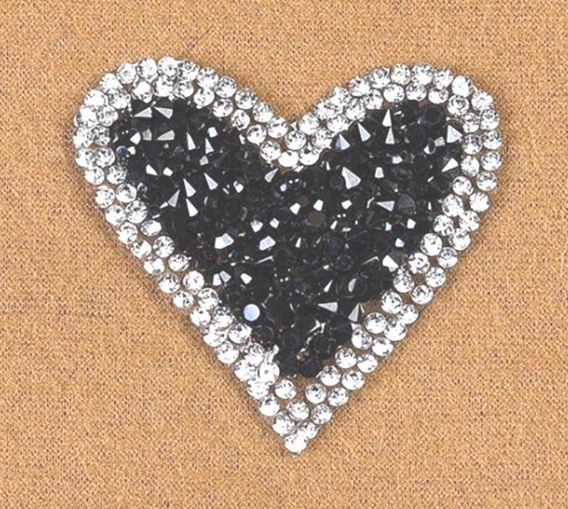 Crystal Rhinestone Heart w/Black Beaded Center Applique 2 GB860