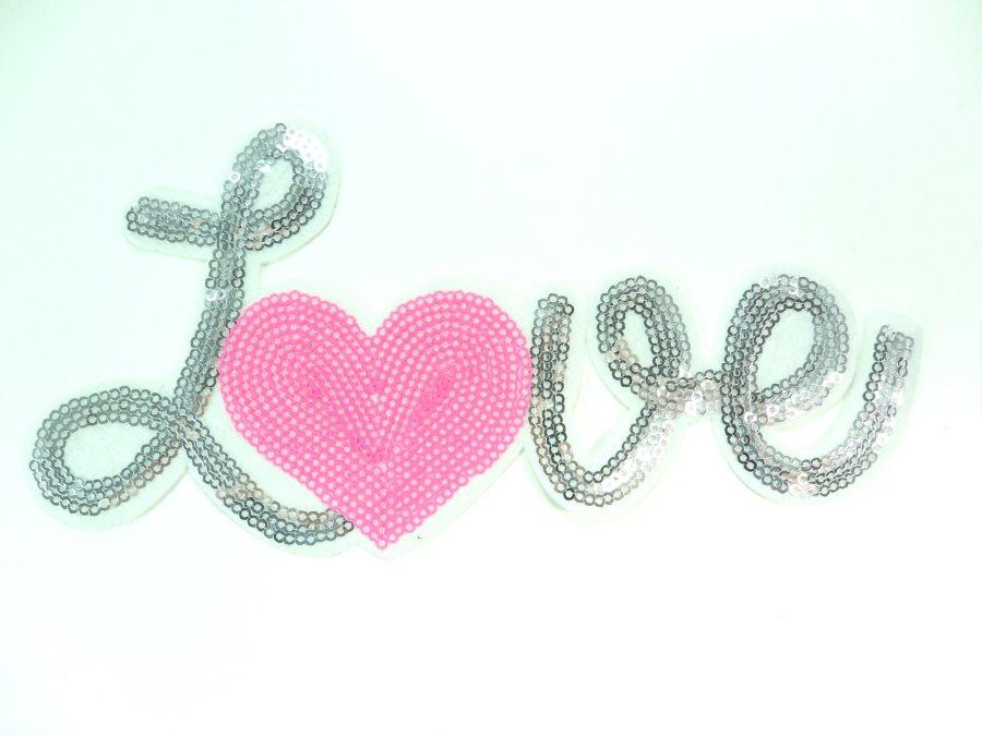 Love Silver w/Pink Heart Sequin Applique 8 GB861