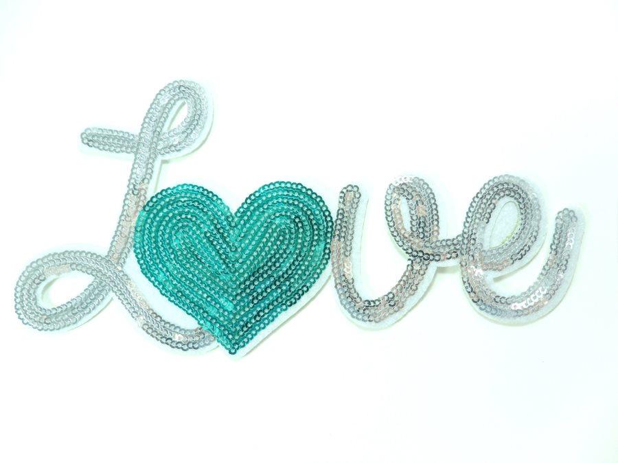 Love Silver w/Teal Heart Sequin Applique 8 GB861