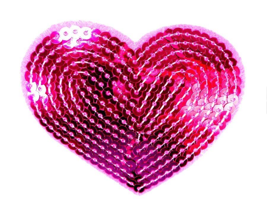 Fuchsia Valentine Heart Sequin Applique 3.25 GB866