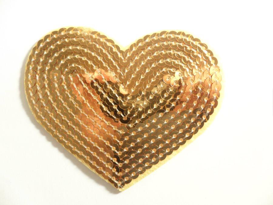 Gold Valentine Heart Sequin Applique 3.25 GB866