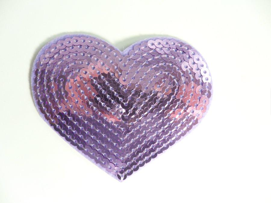 Lavender Valentine Heart Sequin Applique 3.25 GB866