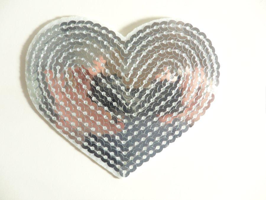 Silver Valentine Heart Sequin Applique 3.25 GB866