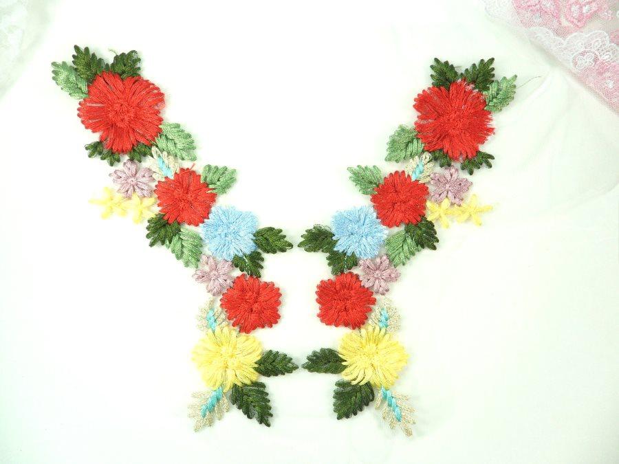 Multi-Color Floral Venise Lace Mirror Pair Appliques 8  GB867X