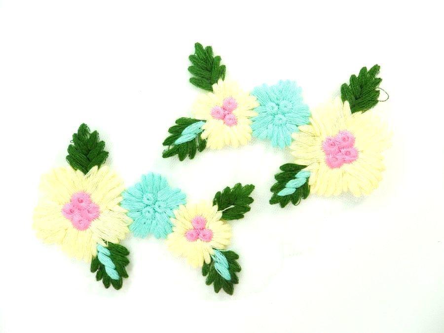Multi-Color Floral Venise Lace Mirror Pair Appliques 3.5 GB868X