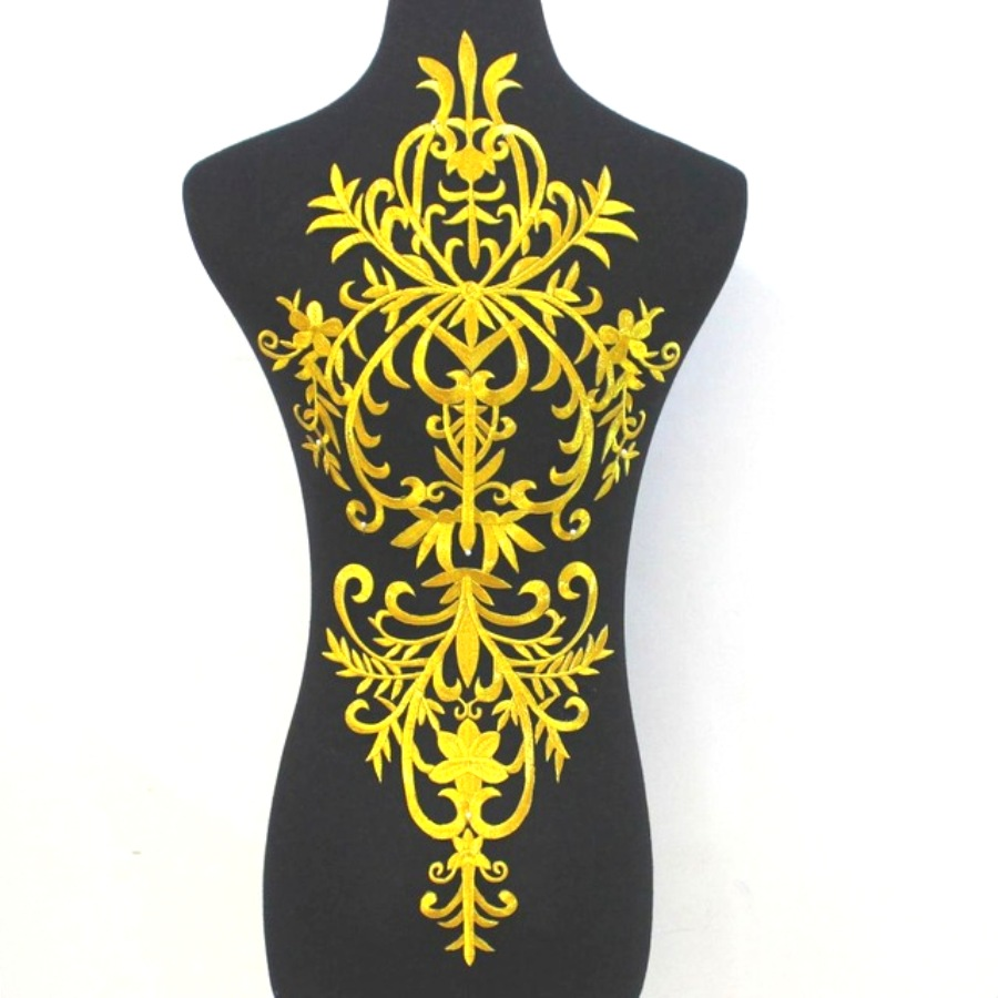 Bodice Embroidered Applique Gold Metallic Designer Scroll Motif Iron on  23 GB869