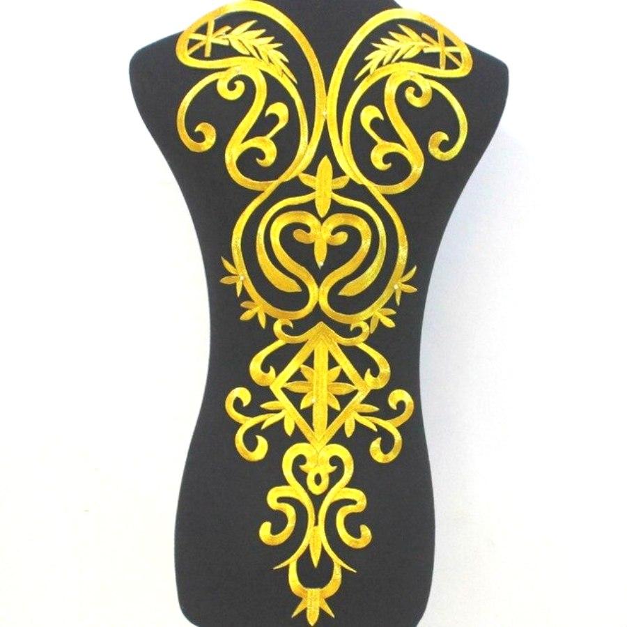 Bodice Embroidered Applique Gold Metallic Designer Scroll Motif Iron on  25 GB870