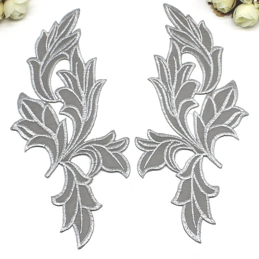 Appliques Silver Metallic Mirror Pair Embroidered Venice Lace 9 GB871X