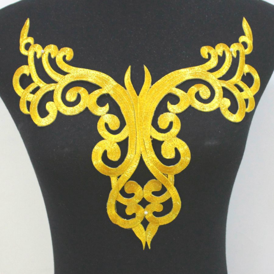 Bodice Embroidered Applique Gold Metallic Designer Scroll Motif Iron on 12 GB872