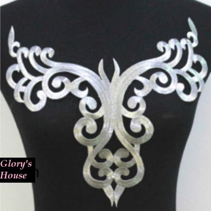 "Bodice Embroidered Applique Silver Metallic Designer Scroll Motif Iron on 12"" GB872"
