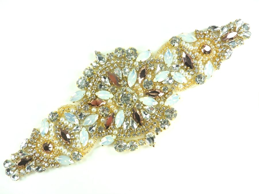 Royal Beauty Gold Beaded Applique Crystal Opal Bronze Rhinestones w/ Pearls 9.75 GB874