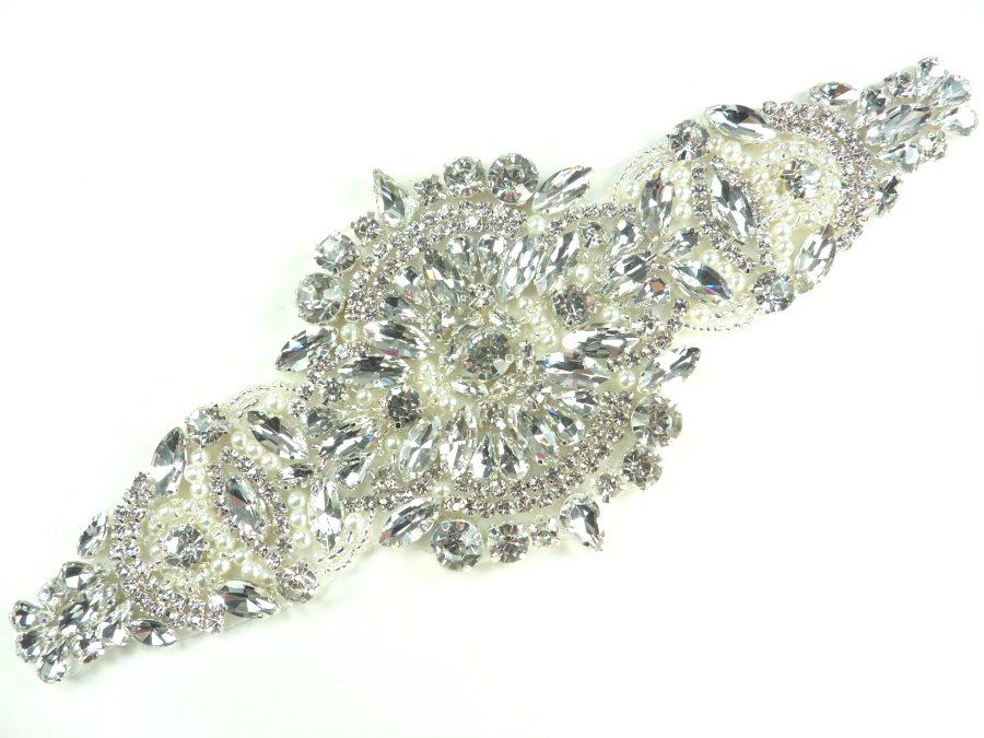 Royal Beauty Silver Beaded Applique Crystal Rhinestones Silver Settings w/ Pearls  9.75 GB874