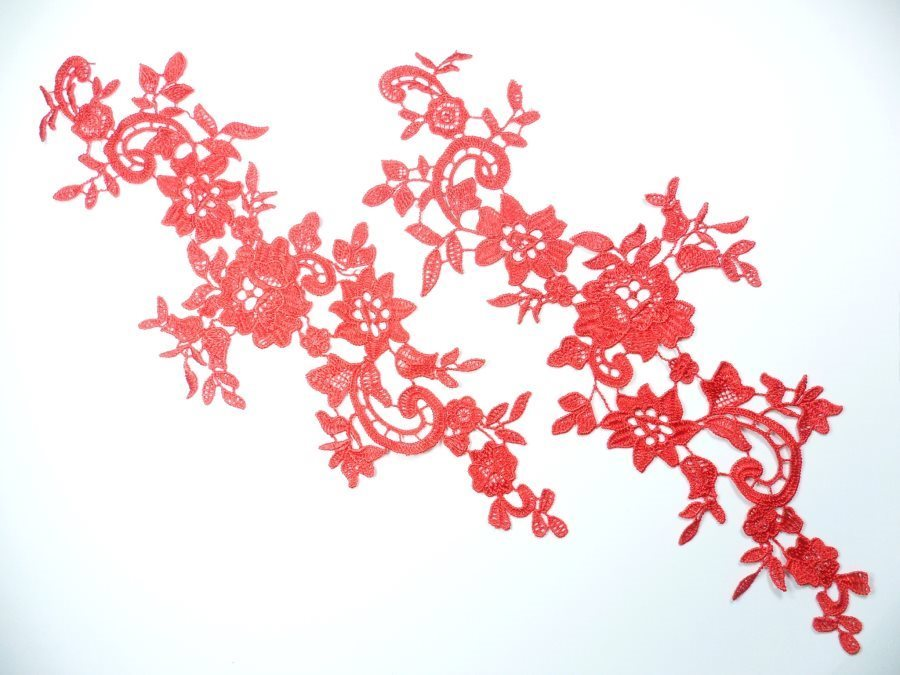 Embroidered Lace Appliques Red Floral Venice Lace Mirror Pair 13 GB878X
