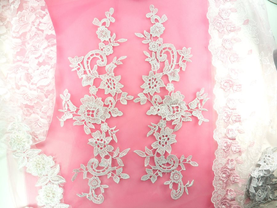 Embroidered Lace Appliques Silver Floral Venice Lace Mirror Pair 13 GB878X