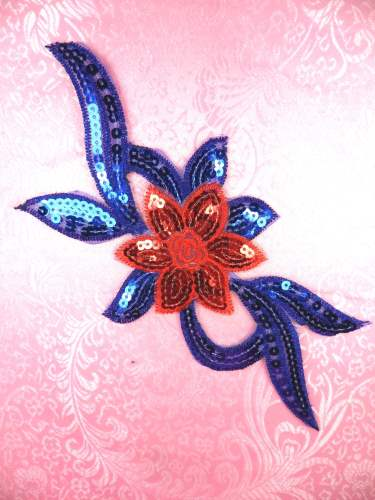 GB88 Red Royal Blue Flower Sequin Embroidered Floral Applique 9.25\