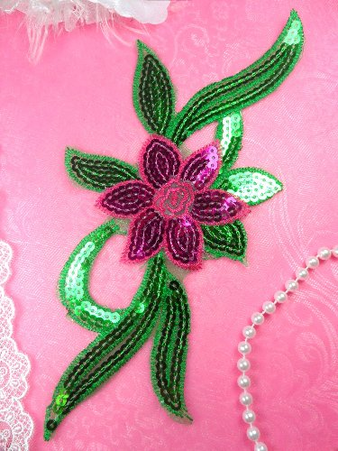 GB88 Fuchsia Green Flower Sequin Embroidered Floral Applique 9.25\