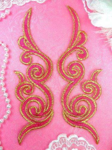 GB89 MIRROR PAIR Fuchsia Gold Metallic Iron On Designer Embroidered Applique 6.75\
