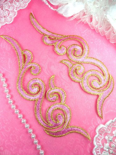 GB89 MIRROR PAIR Pink Gold Metallic Iron On Designer Embroidered Applique 6.75\