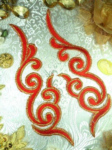 GB89 MIRROR PAIR Red Gold Metallic Iron On Designer Embroidered Applique 6.75\