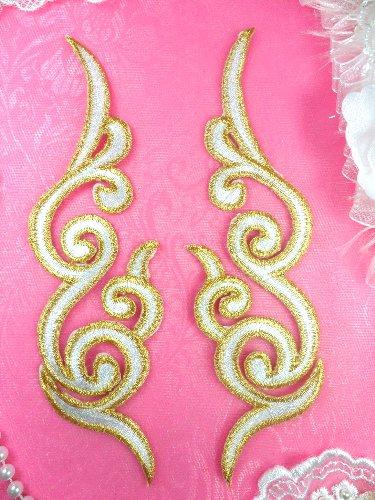 GB89 MIRROR PAIR White Gold Metallic Iron On Designer Embroidered Applique 6.75\