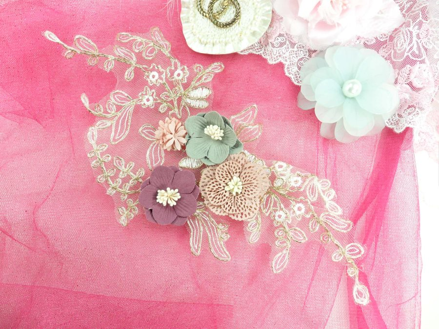 3 Dimensional Applique Venice Lace Floral Sewing Clothing Patch 11.25 GB893