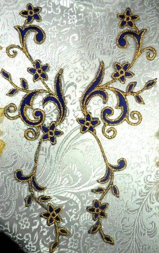 GB90 MIRROR PAIR Blue Gold Metallic Flower Vine Iron On Designer Embroidered Applique 9\