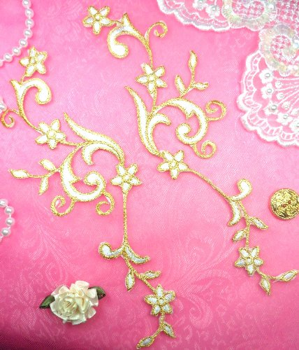GB90 MIRROR PAIR White Gold Metallic Flower Vine Iron On Designer Embroidered Applique 9\