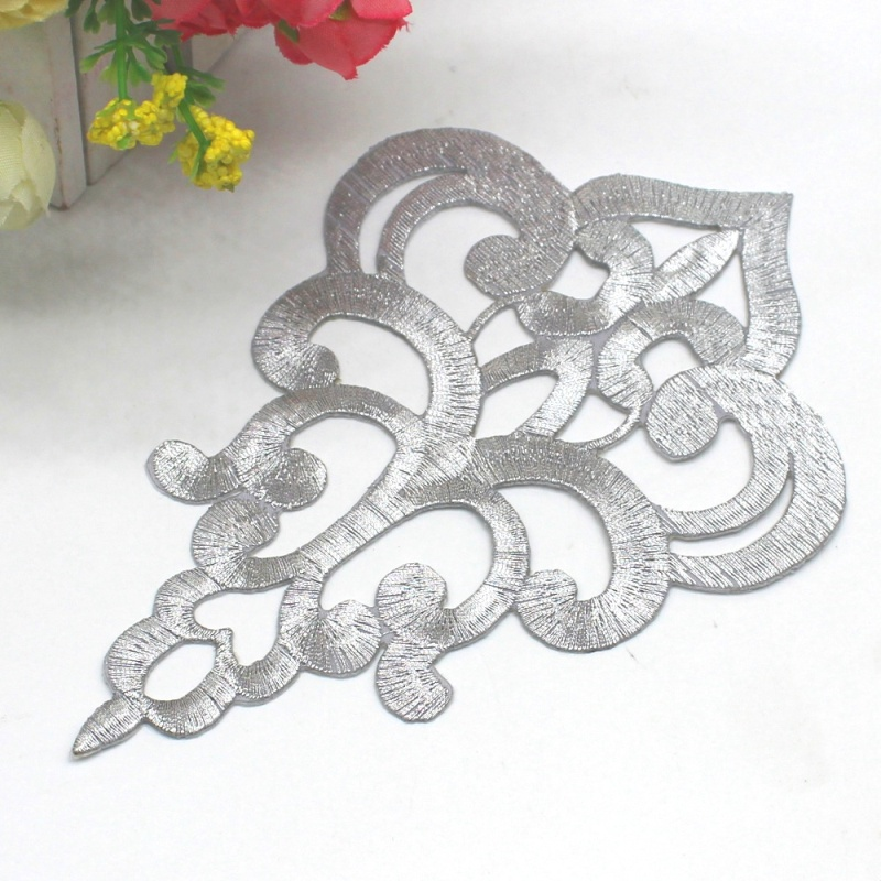 Embroidered Applique Silver Metallic Designer Scroll Motif Iron on  6.25 GB906
