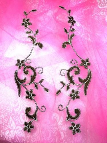 "GB90 Embroidered Applique Brown Silver Flower Mirror Pair Vine Iron On 9/"""