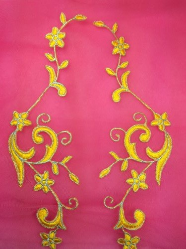 GB90 Embroidered Appliques Yellow Silver Flower Mirror Pair Vine Iron On 9\