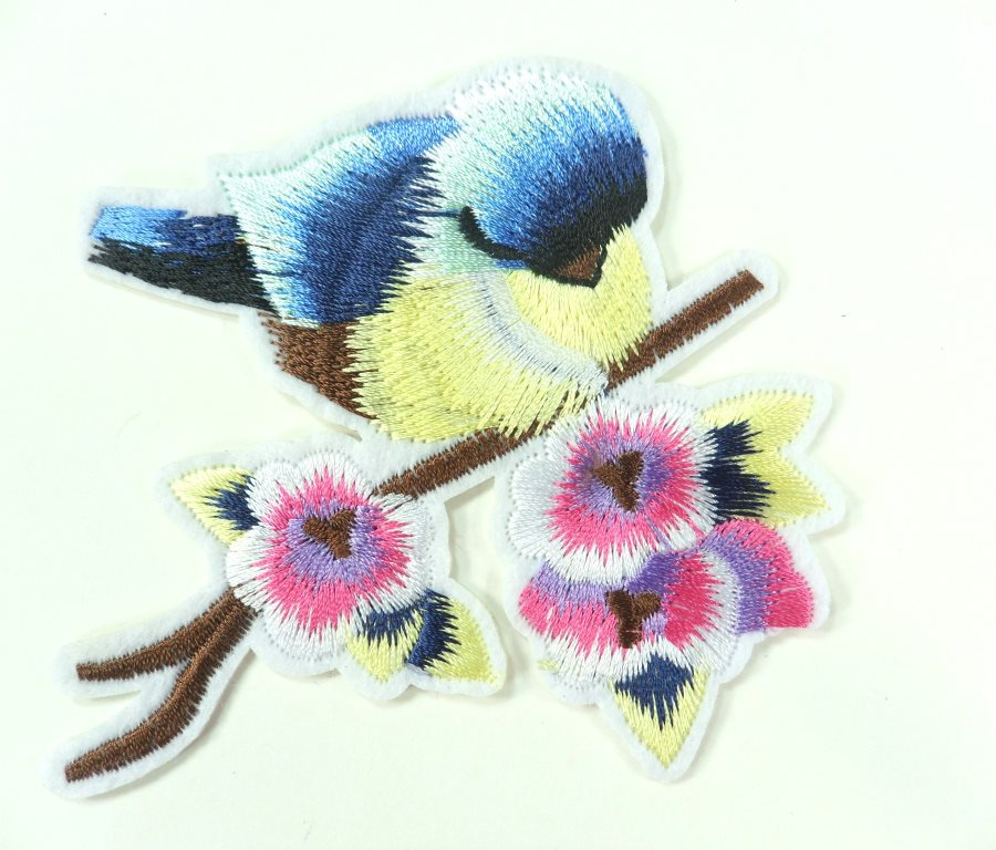 Embroidered Bird Applique Blue on Branch Iron On 3  GB911