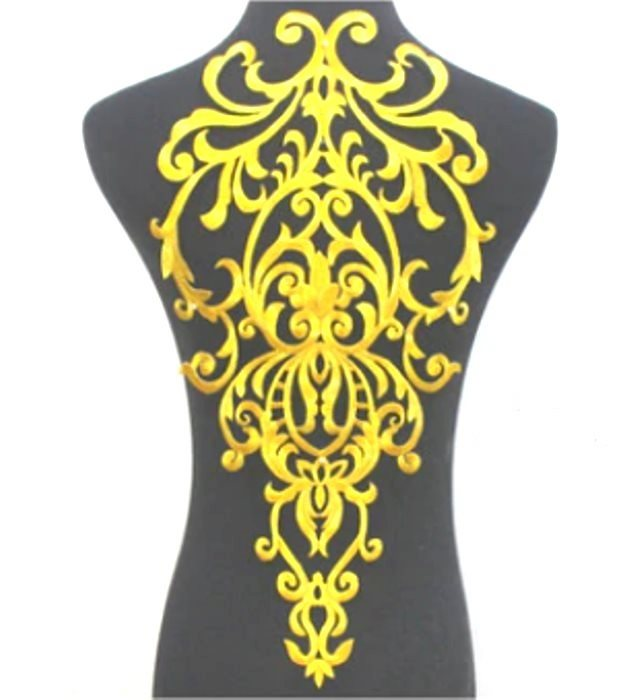 Bodice Embroidered Applique Gold Metallic Designer Scroll Motif Iron on 19.5