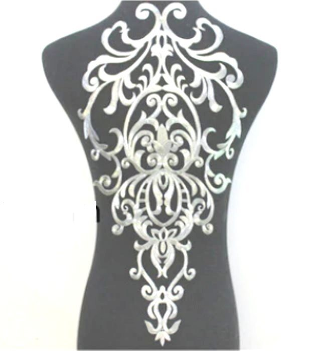 "Bodice Embroidered Applique Silver Metallic Designer Scroll Motif Iron on 19.5"" GB913"