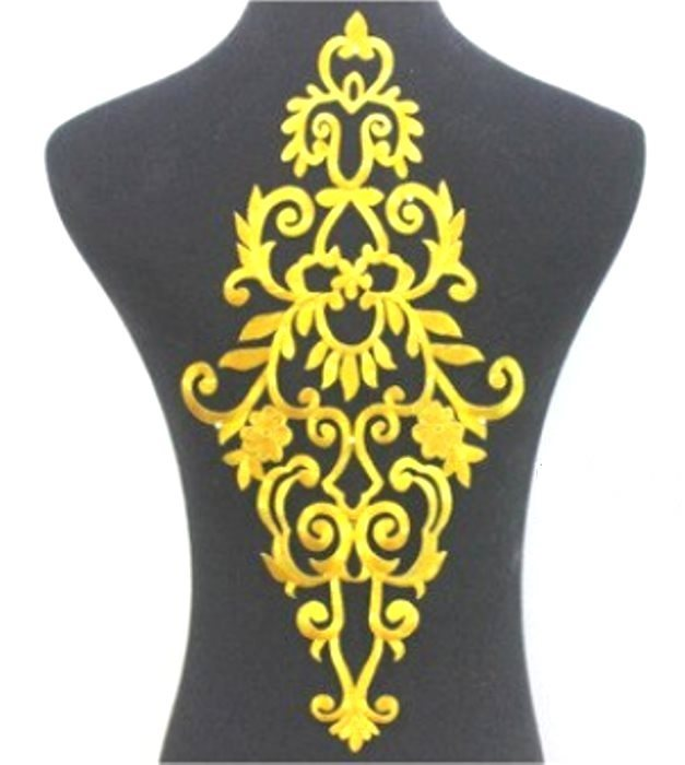 "Bodice Embroidered Applique Gold Metallic Designer Scroll Motif Iron on 16.5"" GB914"