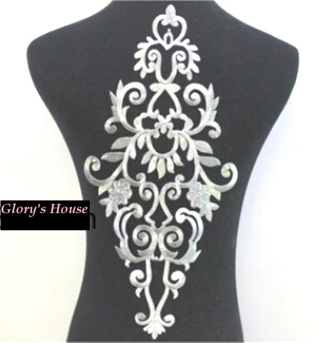 "Bodice Embroidered Applique Silver Metallic Designer Scroll Motif Iron on 16.5"" GB914"